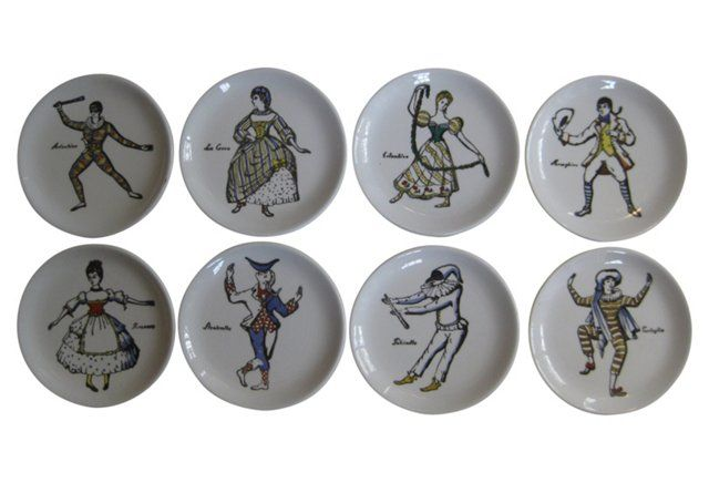 """Fornasetti Masquerade Coasters S/8.  Box and coasters marked: """"Fornasetti Milano Made in Italy"""" with the company's paintbrush-in-hand symbol and each coaster also marked """"Maschere Italiane"""" with a mask."""