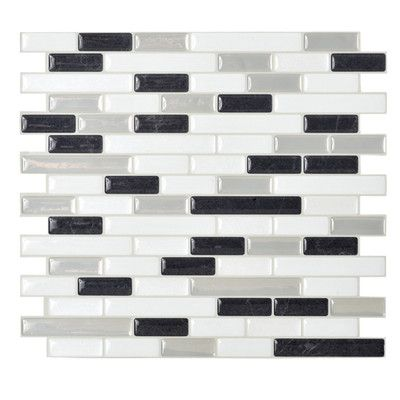 Smart Tiles Mosaik Self Adhesive High-Gloss Mosaic in Black & White
