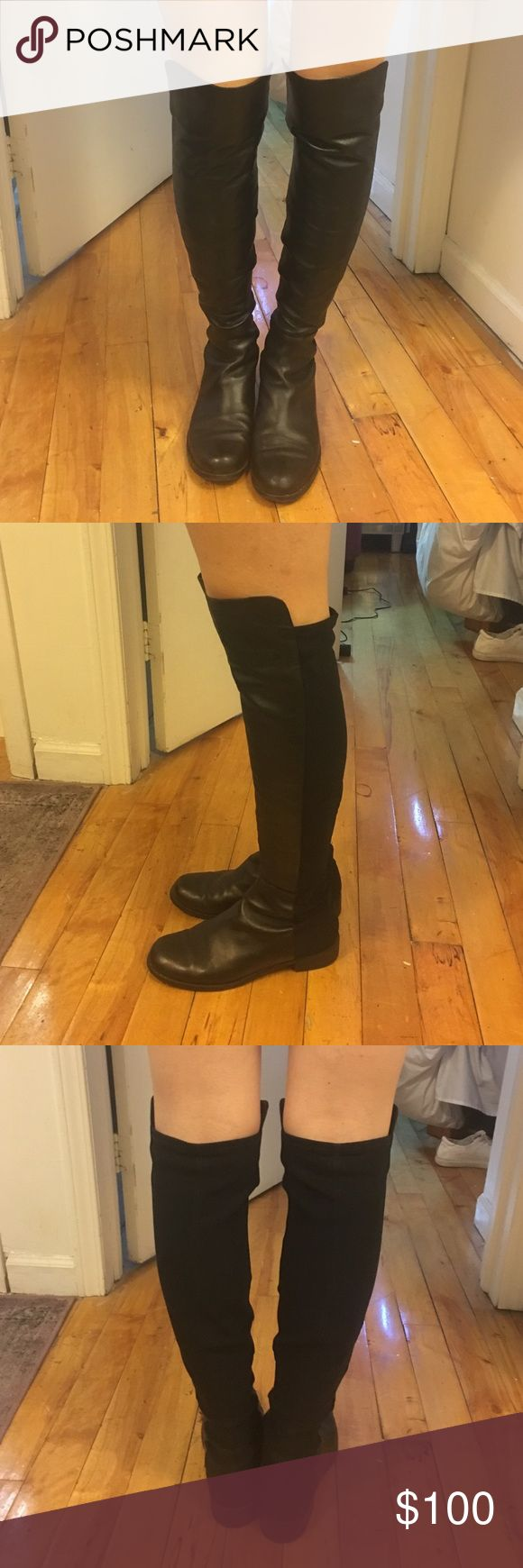 Stuart Weitzman black leather 5050 boot Over the knee, flat leather boots. Size 7 Stuart Weitzman Shoes Over the Knee Boots