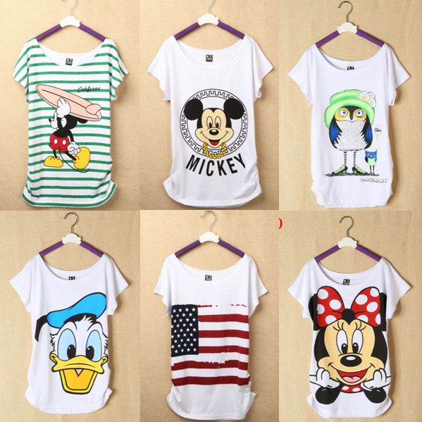 New  Mickey Women T Shirts Short Sleeve Lady Print Duck T-Shirts Female Cartoon Tops Tee Owl Tshirts