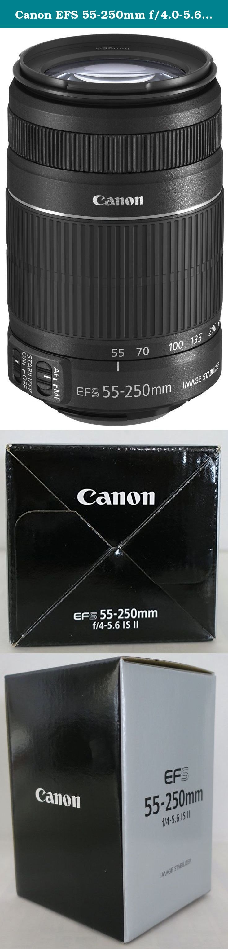 Canon EFS 55-250mm f/4.0-5.6 IS II Telephoto Zoom Lens for Canon Digital SLR Cameras - International Version (No Warranty). The Canon EF-S 55-250mm f/4-5.6 IS Lens is a compact and lightweight telephoto zoom lens that is specifically designed for the range of EOS digital SLR cameras that use the smaller EF-S lens mount. Combining powerful performance with high image quality, this lens offers the equivalent of 88-400mm in 35mm format, and is ideal for photographers seeking an affordable...