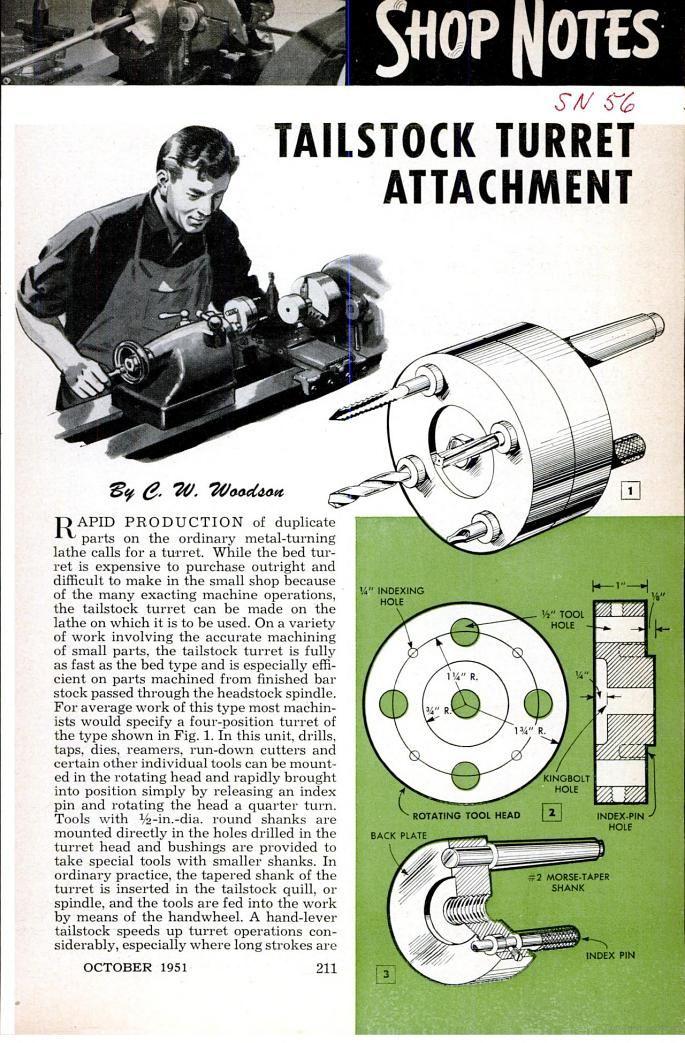 Tailstock turrent attachment - Popular Mechanics