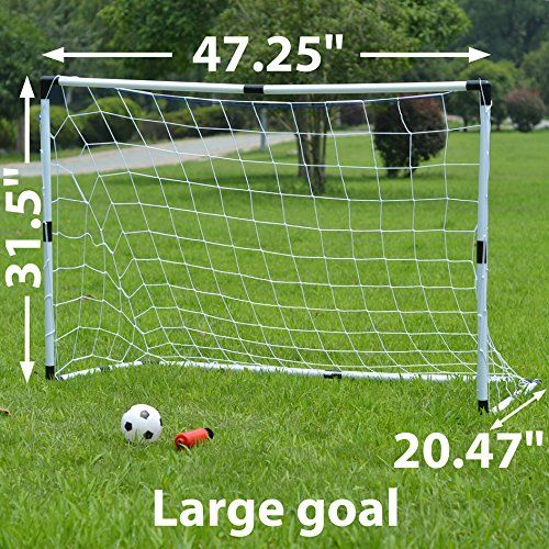 awesome Set of Two Youth Kids Soccer Goals with Soccer Ball and Pump Practice Scrimmage Game WHITE