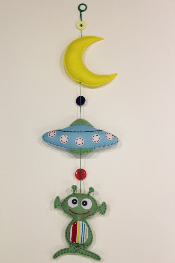 Space Baby Mobile MoonUFOAlien by ElabeeCrafts on Etsy, £18.00