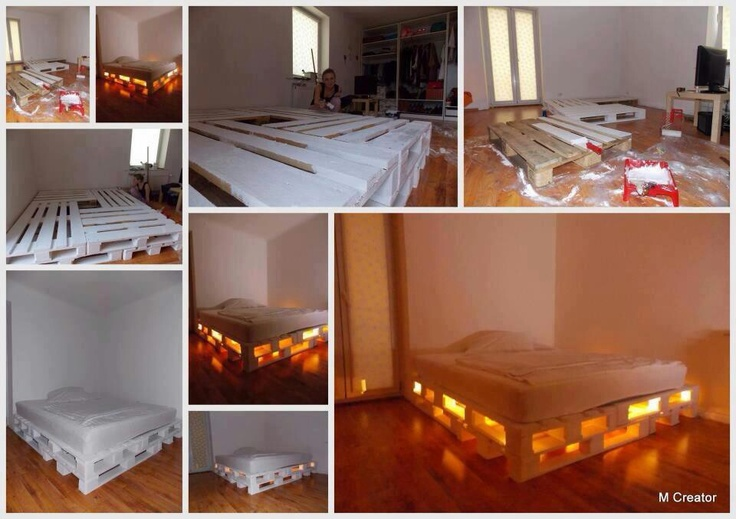 soooo cool! #pallet bed with lights