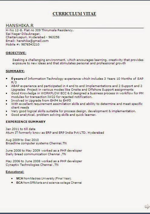 english cv samples Beautiful Excellent Professional Curriculum - resume format for freshers bca