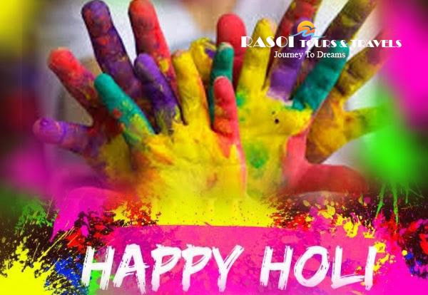 "Glittering colors, melodious songs, luscious dishes and happening holiday time are the main elements of Perfect Holi. With the exciting tour offers, the team of ""Rasoitours"" wishes you and your family a very happy and safe Holi!!"