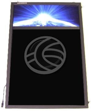 Tablón de anuncios o pizarra iluminada por LEDs para todo tipo de negocio: hoteles, bares, restaurantes, aparcamientos, colegios, hospitales, tiendas, etc. En definitiva allí donde se quiera poner un anuncio de forma vistosa, elegante y rápida. La pizarra está iluminada por LEDs que permiten 7 colores de iluminación diferentes que hace que los colores cambien, obteniendo combinaciones muy vistosas. Es posible programar diferentes juegos de luces cambiantes.