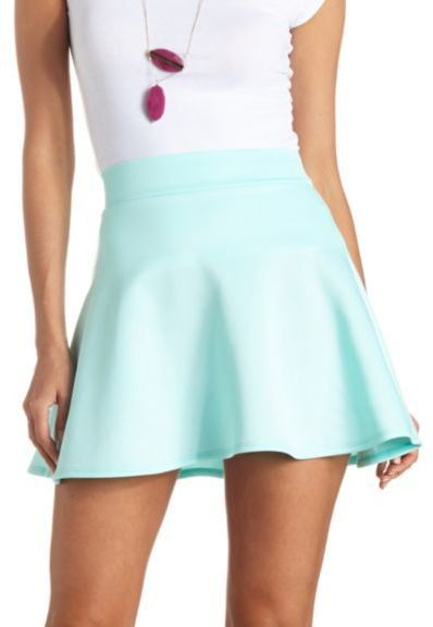 $16, Charlotte Russe High Waisted Skater Skirt. Sold by Charlotte Russe. Click for more info: https://lookastic.com/women/shop_items/55170/redirect