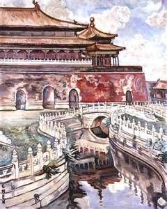 Georgette Chen Liying - The Imperial Palace in Beijing is revered today as a majestic architectural symbol of China. This painting shows a view inside the Palace, looking out from the Tai He Men Square, across the Qin Shui Qiao Bridge toward the north side of Wu Men Gate