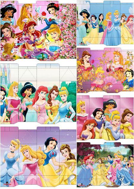 Cajas de Princesas Disney para Imprimir Gratis.