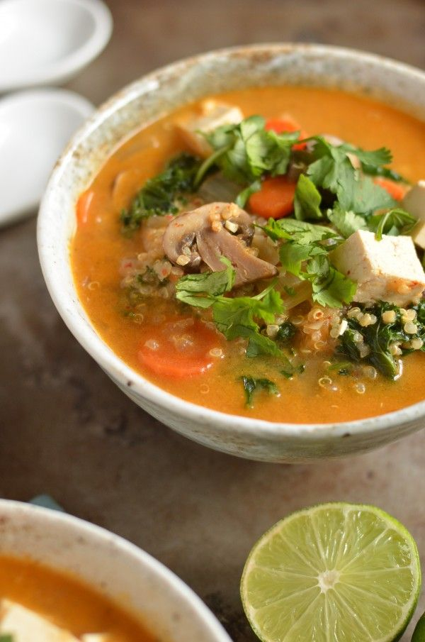 Spice up your weeknight dinners with this Thai Red Curry Quinoa Soup. Chock full of veggies and spice!