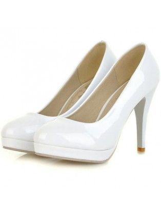 Patent Leather Platform White High Heels