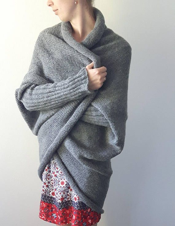 Over Size Cocoon Sweater Woman Poncho Warm Poncho Women