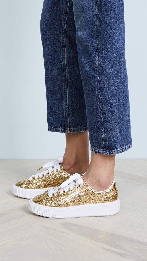 PUMA Basket Platform Glitter Sneakers  8c4f67c81