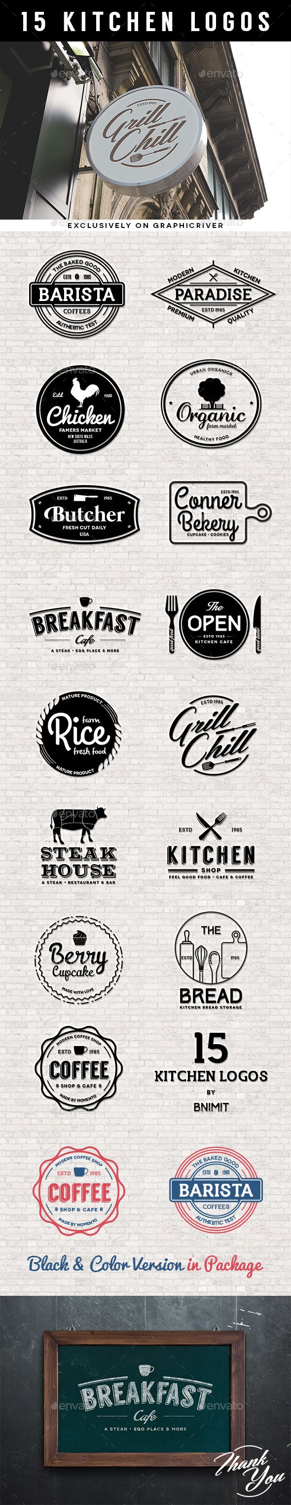 15 Kitchen logos - Badges & Stickers Web Elements