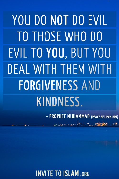 You do not do evil to those who do evil to you, but you deal with them with forgiveness and kindness.  - Prophet Muhammad (Peace be upon him)