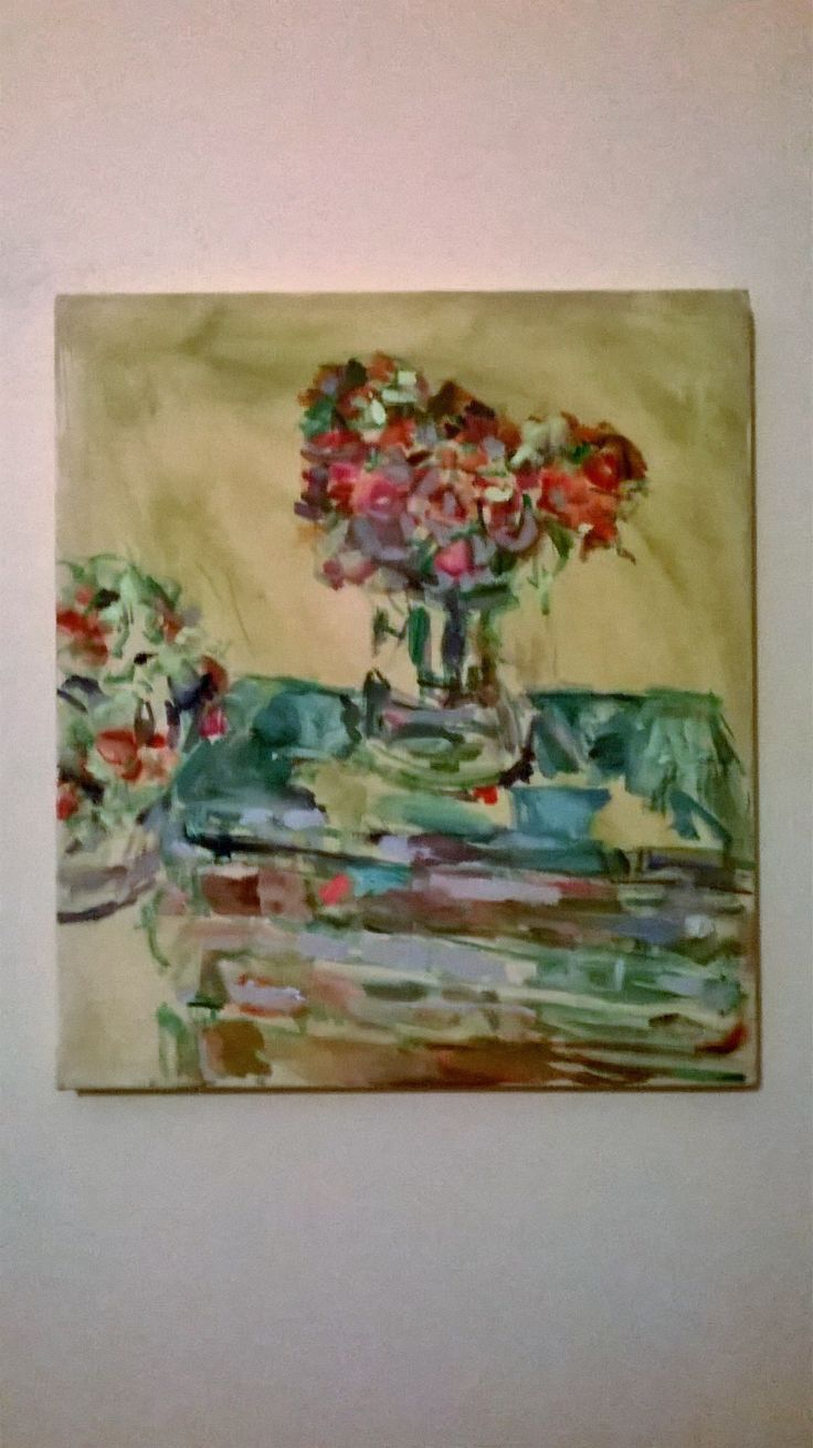 Old books and flowers. Oil on canvas, 50x40 cm. 2015. May Kotsana