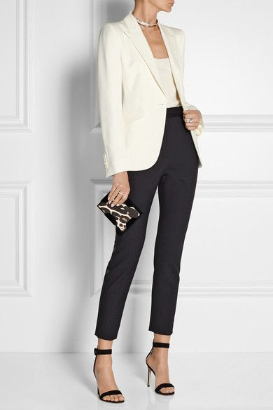 Alexander McQueen Grain de poudre wool blazer | D&G pants | Gianvito Rossi sandals | Jennifer Fisher chocker