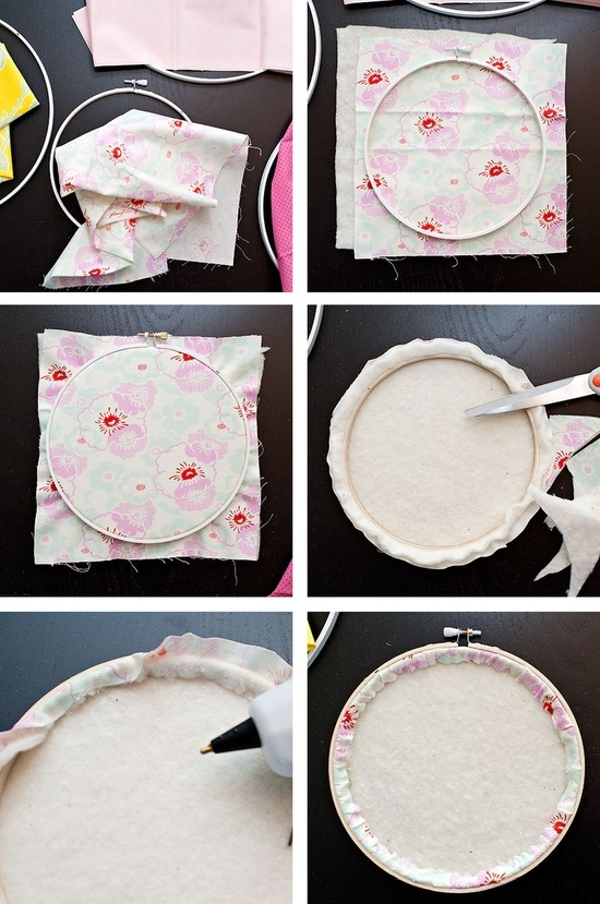 embroidery hoops w/ fabric - want to do this with silhouettes inside, maybe with felt - for craft explosion class