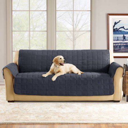 Sure Fit Ultimate Waterproof Quilted Pet Sofa Cover, Blue
