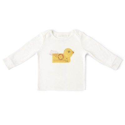 #FromBabiesNew# loving the duck / postage combo of this top - very cute!  The Duck character on this charming organic baby t-shirt is designed using vintage postal materials.
