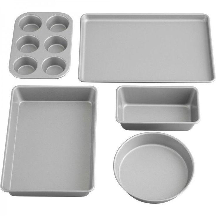Nonstick Kitchen Bakeware Set Baking Cookie Cake Muffin Steel Pans Sheet 5 Piece #NonstickKitchenBakewareSet
