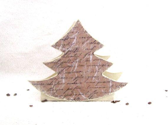 Christmas tree napkin holder , mdf decoupage tissue  holder , shabby chic  kitchen tableware , housewarming gift for table decor