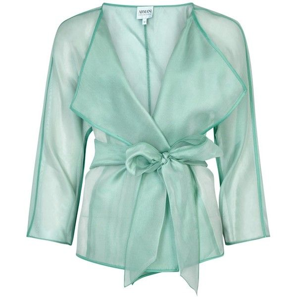 Womens Evening Jackets Armani Collezioni Turquoise Belted Silk Organza... (815 CAD) ❤ liked on Polyvore featuring outerwear, jackets, tops, coats & jackets, turquoise jacket, armani collezioni, special occasion jackets, green jacket and armani collezioni jacket