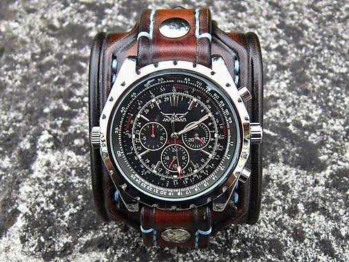 leon / Hnedý kožený remienok, mechanické hodinky