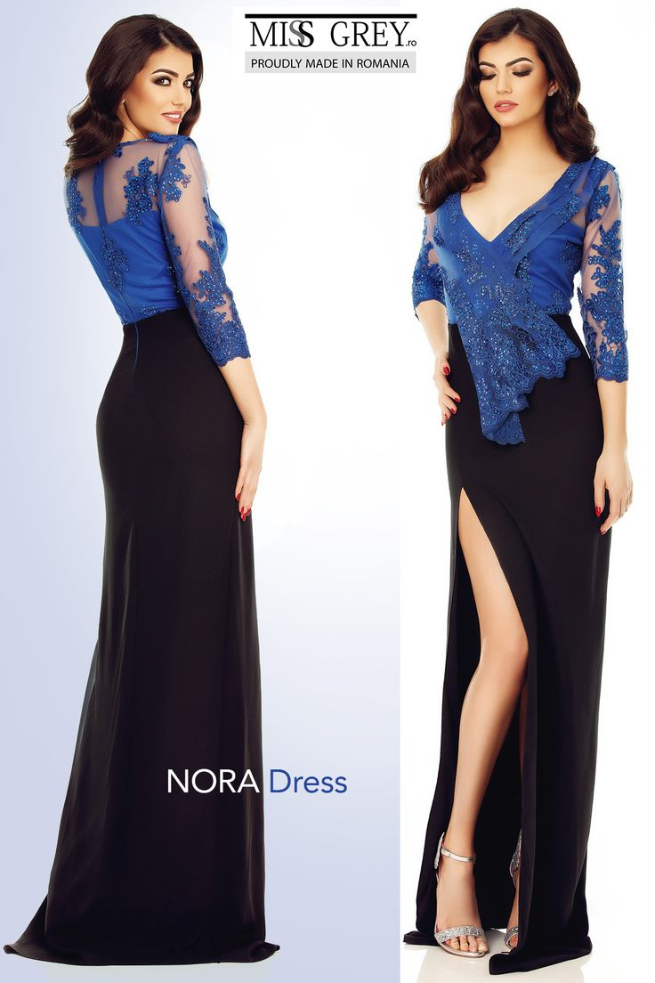 You will amaze and impress everyone with this high slit elegant long evening dress, made of an impressive combination of triple black veil and royal-blue lace.