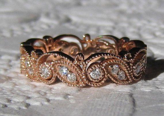 IVY Rose Gold Floral Filigree Milgrain Bezel Diamond Wedding Band, Eternity Ring on Etsy, $995.00