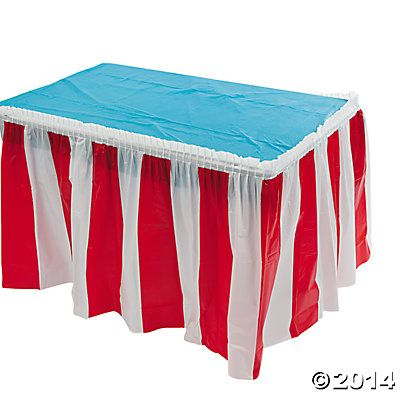 Red & White Striped Table Skirt. To go with carnival theme decorate booths with this or find solid primary colours