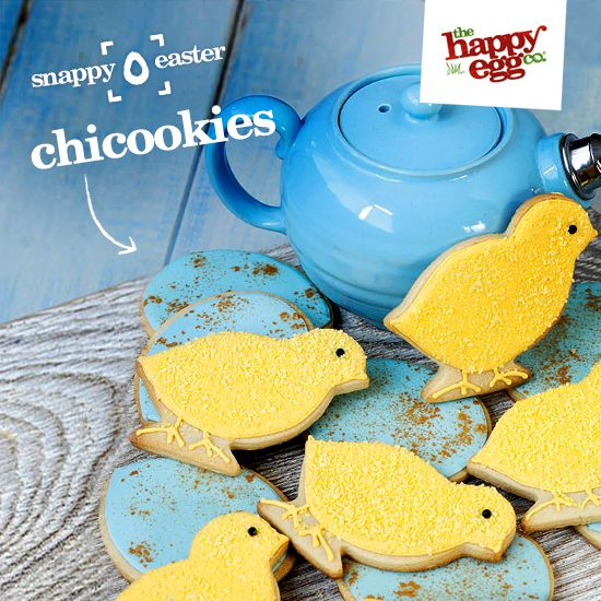 Golden speckled egg and sparkling chick cookies: http://thehappyegg.co.uk/our-recipes/recipe/golden-speckled-egg-and-sparkling-chick-cookies