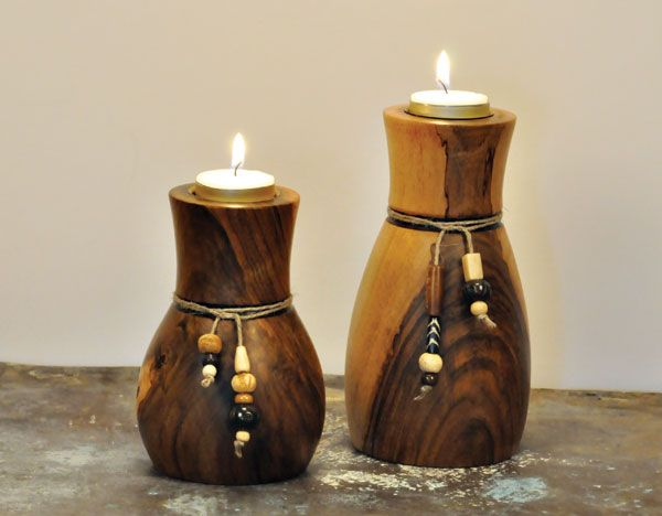 Woodturning, turned candleholders with decorations