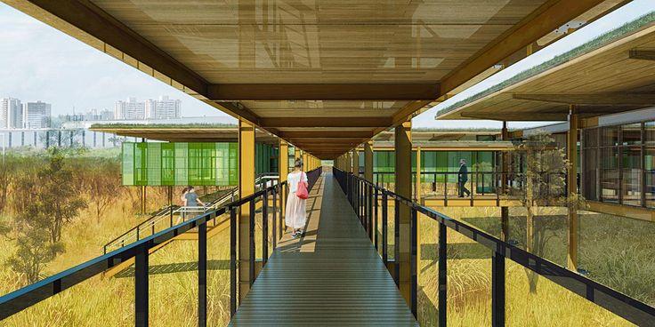 Mindlin Loeb + Dotto: Parque tecnológico, Brasília.  Passarelas, rampas e escadarias conectam o programa e criam áreas de descompressão
