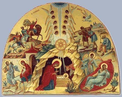 Η ημικυκλική διάταξη της εικόνας   εξασφαλίζει την πυκνότητα   της παρουσίασης των κυριότερων   γεγονότων της Γέννησης   Του Θεανθρ...