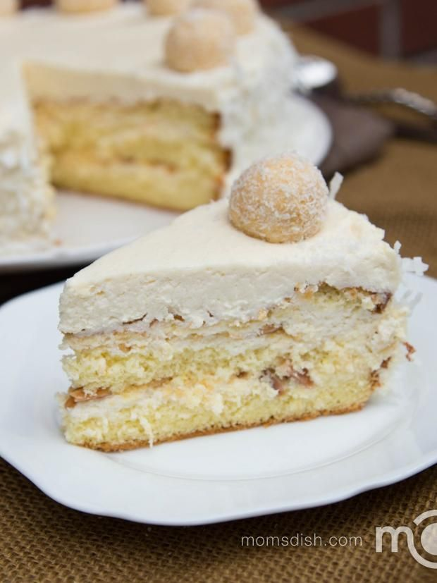 Just like its sibling Ferrero Rocher Cake, this cake doesn't lack in creative description. If you've ever had tried Raffaello Chocolates, you will recognize this cake immediately. It's moist, and tastes like candy with every bite. With the flaky snow-ish coconuts on the outside, this cake is perfect for winter. @Mom's Dish