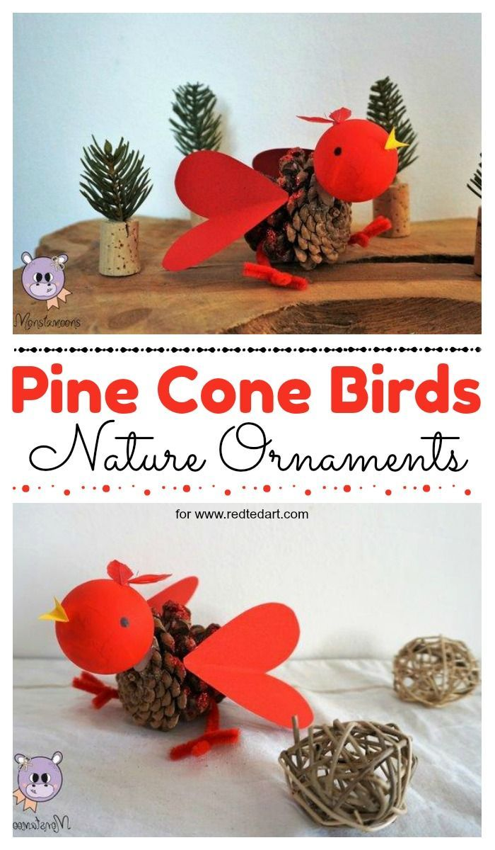 Pine Cone Bird Ornament. Make these adorable Pine Cone LOVE birds for Valentine's Day or as a gorgeous Cardinal Christmas Ornament. #pinecones #nature #naturecrafts #valentines #valentinesday #christmasornaments