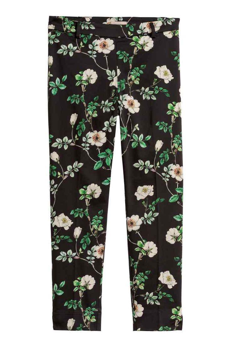 H&M+ Pantalon habillé - Noir/fleuri - FEMME | H&M FR