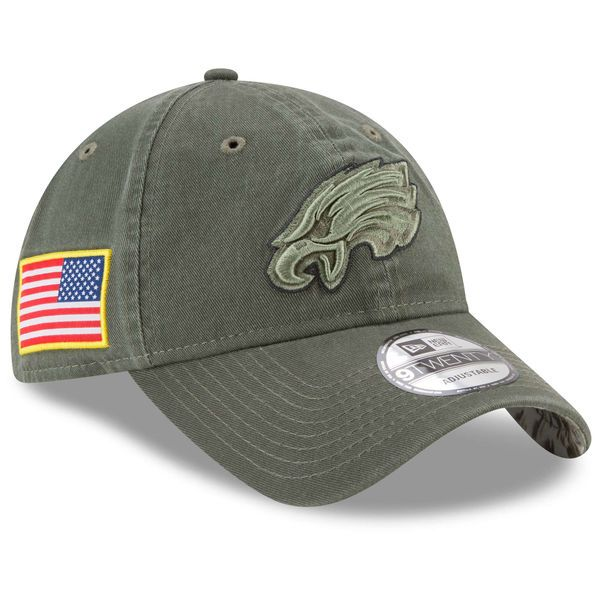 Men's New Era Olive Philadelphia Eagles 2017 Salute To Service 9TWENTY Adjustable Hat