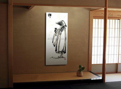 suibokuga SUMI-E original Japanese zen painting art MONK handmade watercolor paintings ink