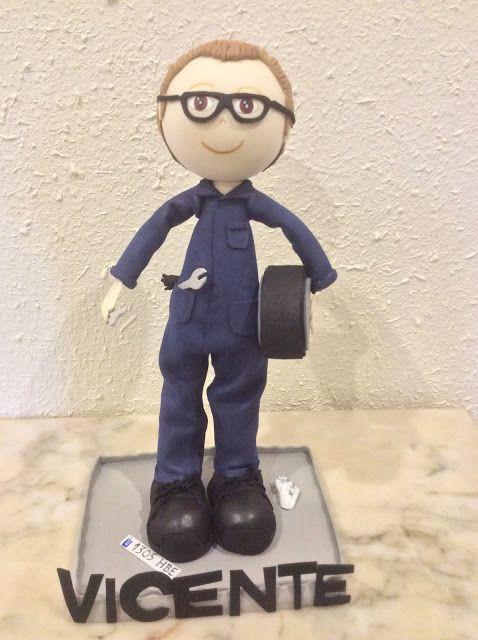 Fofucho mecánico personalizado con gafas, mono de trabajo. rueda, herramientas, guantes...