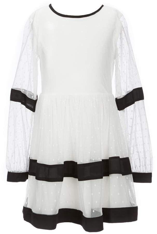 d7391f56f13 GB Girls Social Big Girls 7-16 Long-Sleeve Dotted Mesh Dress