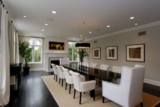 Large Dining Room Table in white dining room