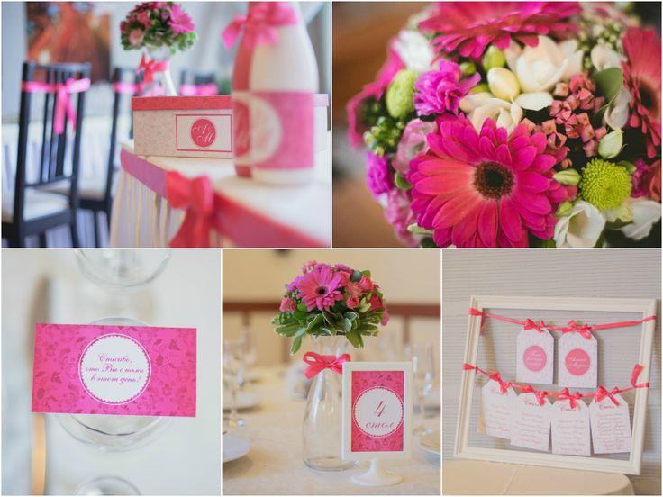 Розовая малиновая свадьба Оформление живыми цветами, основной цветок - розовая гербера. Оформление шампанского, коробки для денежных подарков, карточки для гостей, план рассадки в едином стиле