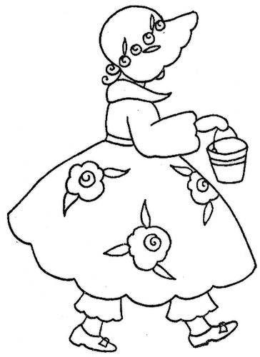 Girl in bonnet embroidery pattern