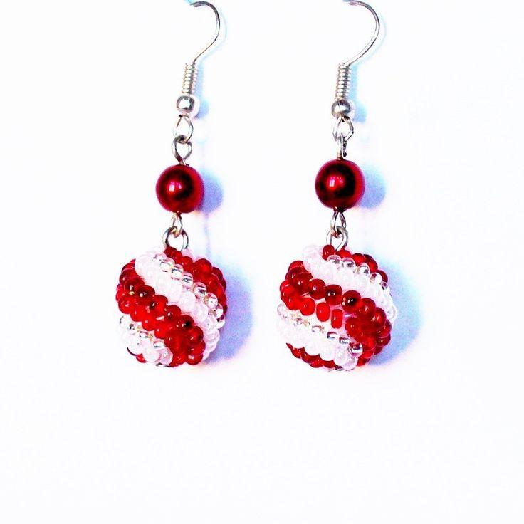 Náušnice Korálky Janka červeno bílé kuličky