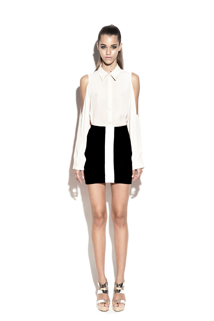 Nookie True Colours Shirt- Nude & Track Star Skirt- Black