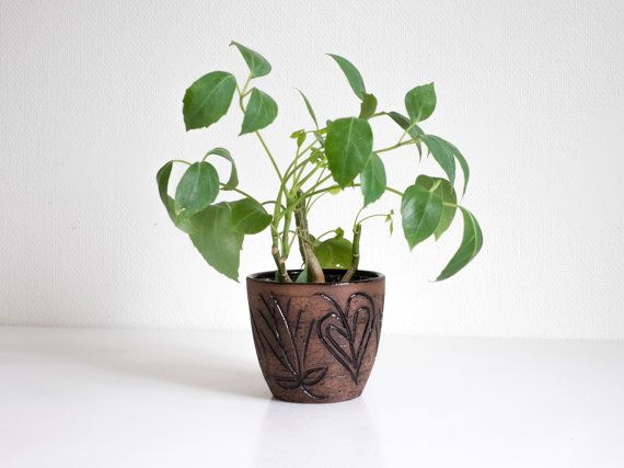 Laholm Flower Pot Swedish Art Pottery Scandinavian by Wohnstadt